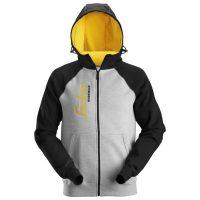 snickers hoodie 2888 grey melange-black