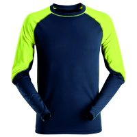 Snickers t-shirt lange mouw 2405 navy-neon yellow
